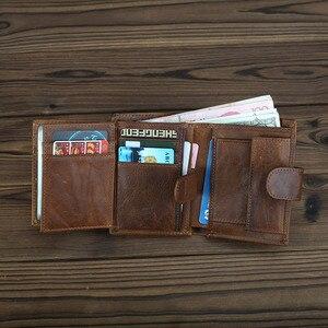 Image 3 - עור אמיתי RFID כיס ארנק גברים של וו כרטיס האשראי מזהה Cardcase ארנקים זכר מטבע תיק מזומנים ארנק