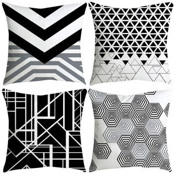 Housse de coussin graphique noir et blanc
