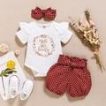 2021 комплекты для новорожденных девочек боди с оборками и буквенным принтом комбинезон + шорты в горошек Модная хлопковая одежда для маленьк...