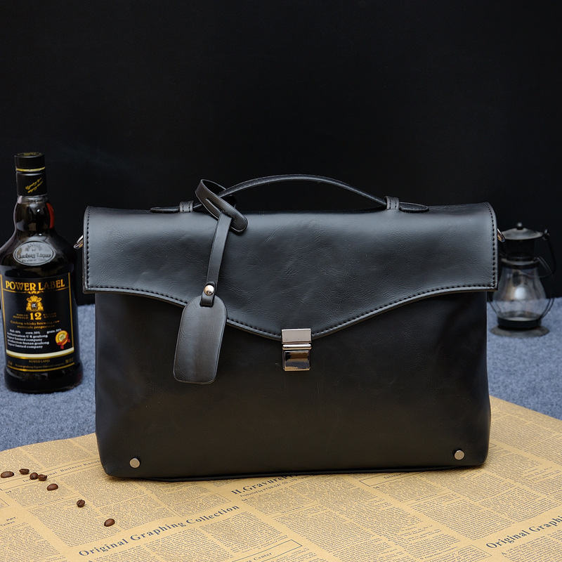 1PCS   Individual Box Type Men's Handbag Crosssection Briefcase Business Single Shoulder Tidal Slant Bag
