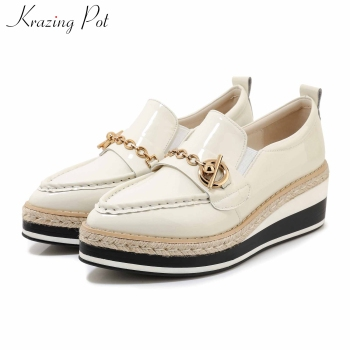 Krazing pot genuine leather metal decorations slip on leisure shoes pointed toe wedges thick bottom women fashion cozy pumps L11