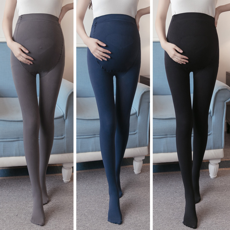 Clothes For Pregnant Spring Autumn Velvet Adjust Leggings Maternity Care Belly Solid Color High Waist Pants Pregnancy Stockings