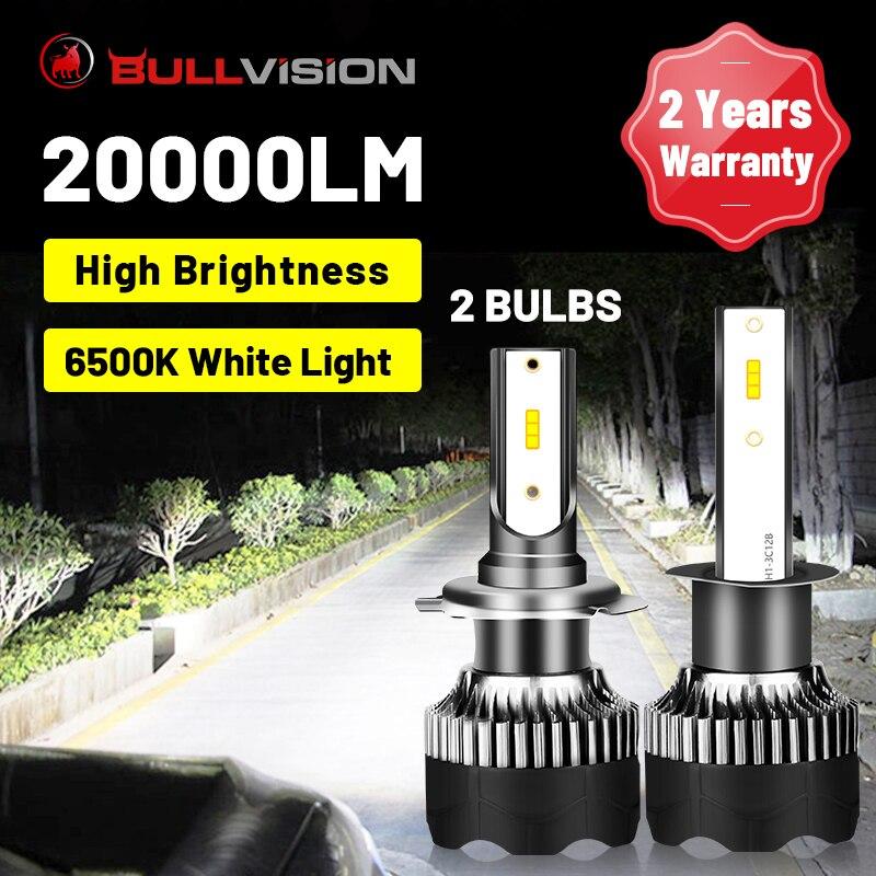 BULLVISION H8 светодиодный фар 20000LM со светодиодными кристаллами для H4 H11 H7 H1 9005 9006 HB3 HB4 льда лампочка работает Автомобильная Противо-Туманная фара...