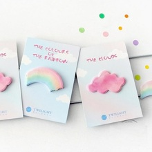 2pcs/lot new arrival clouds/rainbow style colorful note pads message notes innovative sticky stationery