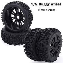 4PCS 17mm Hub Wheel Rim & Tires HSP 1:8 Off-Road RC Car Bugg