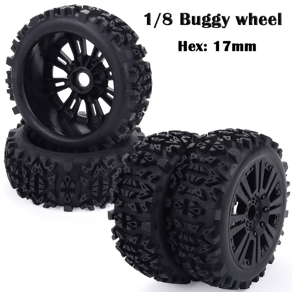 4PCS <font><b>17mm</b></font> Hub <font><b>Wheel</b></font> Rim & Tires HSP 1:8 Off-Road <font><b>RC</b></font> Car Buggy Tyre Black Redcat Team Losi VRX HPI Kyosho HSP Carson Hobao image