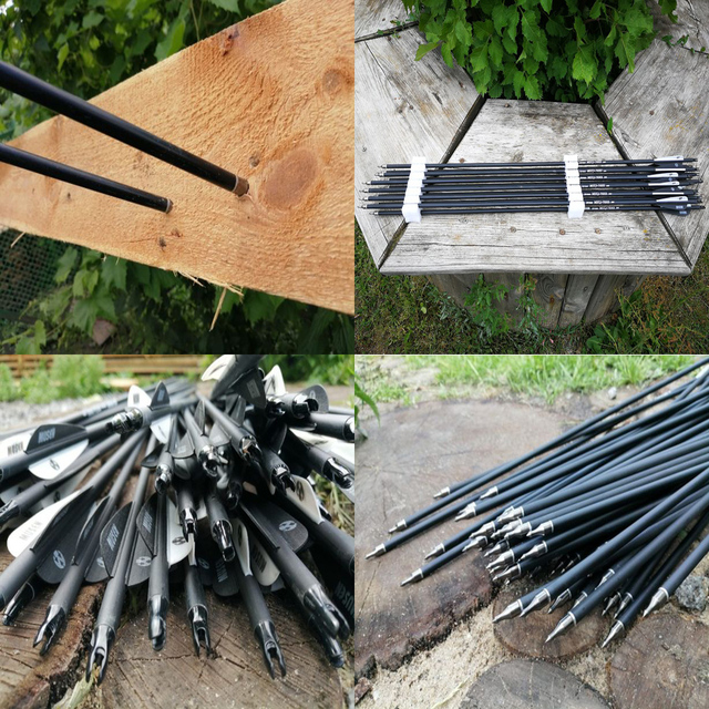6/12/24pcs/lot 28/30/32 inches Spine 500 Carbon Arrow with Black and White Color for Hunting 5