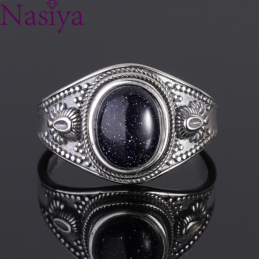 925 Sterling Silver Ring Jewelry  Retro Oval Ring For Women Natural Blue Sandstone 8x10MM Gift Wholesale Party Wedding Gift