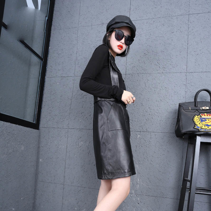 2020 New Women Sheepskin Genuine Leather Black Skirt Office Lady Work Belted Strap Vestidos Big Size Elegant High Waist Skirt