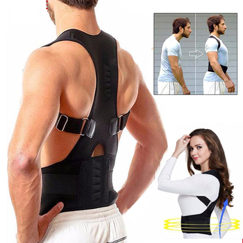 Back-Belt Adult Magnetic Posture Corrector Adjustable Correction Waist Trainer Shoulder Lumbar Brace Spine Support Straight Belt lumbar traction waist posture correction brace back waist decompression inflatable support belt relieve waist pain massage band