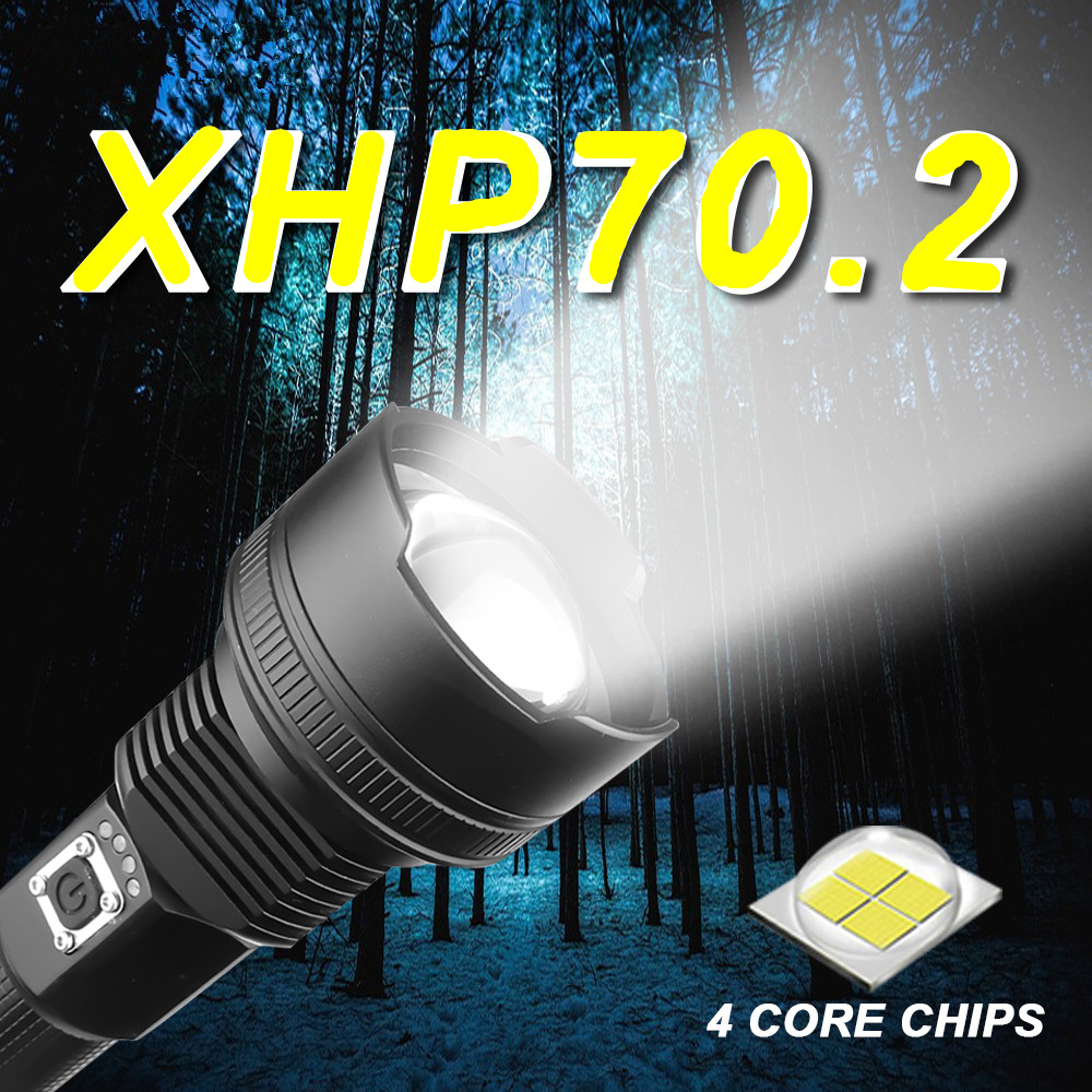 2020 Portable Ultra High Brightness XHP70 LED <font><b>Flashlight</b></font> <font><b>18650</b></font> XHP50 <font><b>Flashlight</b></font> USB Rechargeable Tactical Light 26650 Zoom Torch image