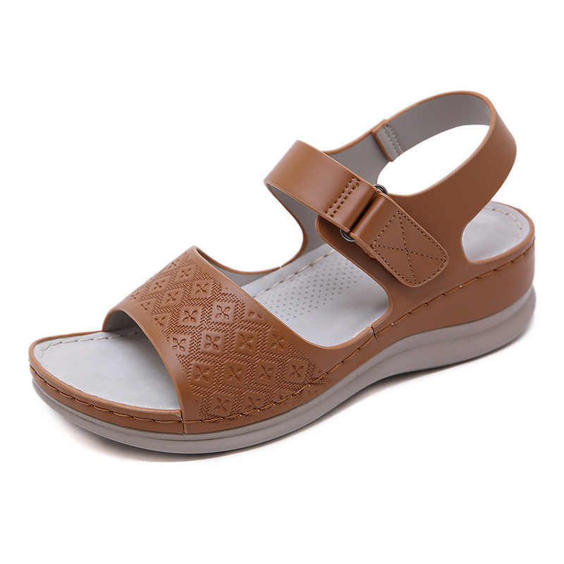 2020 sandały damskie delikatne, na lato buty na co dzień kobiety kliny sandały moda damska buty na koturnie 5cm letnie sandały A2117