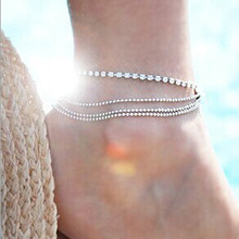 Fashion Silver Copper Beads Multilayer Ankle Anklet For Women Bohemia Summer Beach Chic Crystal Chain Anklet On Leg Foot Jewelry chic multilayer small bells anklet for women