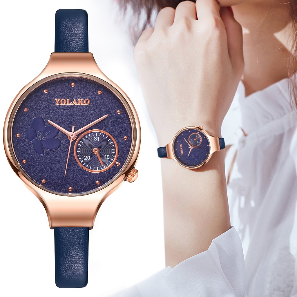 Best Selling Women Fashion Blue Quartz Watch Lady Leather Watchband High Quality Casual Wristwatch Gift For Wife 2019@50