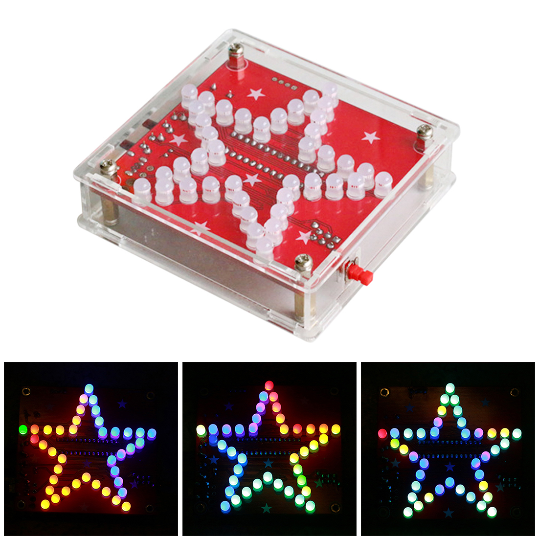 DIY Welding Electronic Bulk Parts Colorful Music Five-Pointed Star LED Light Kit With 5mm Frosted Lamp Beads For Children Toys