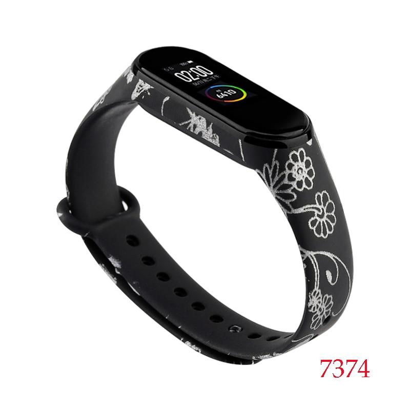 Для Xiaomi Mi Band 4/3 ремешок Металлическая пряжка силиконовый браслет аксессуары miband 3 браслет Miband 4 ремешок для часов М - Цвет: 7374
