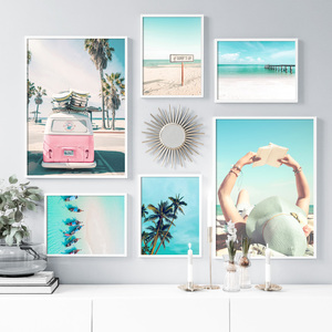 Beach Car Boat Bridge Wall Art Canvas Painting Nordic Posters And Prints Wall Pictures For Living Room Scandinavian Home Decor