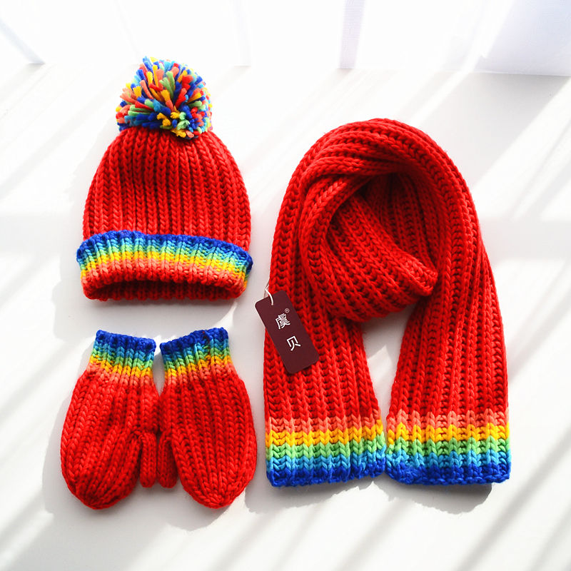 Children Scarf Hat Gloves 3 In 1 High Quality Rainbow Knitted Yarn Boy Girl Soft Warm Winter Shawl Cute Lovely Gift For Kid Baby