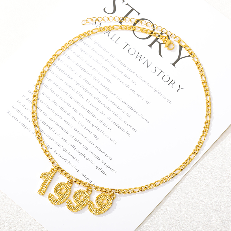 English Number Chokers Necklaces Birthday Gift Personalized Birth Year Necklaces Women Men Mom Custom Digital Jewelry