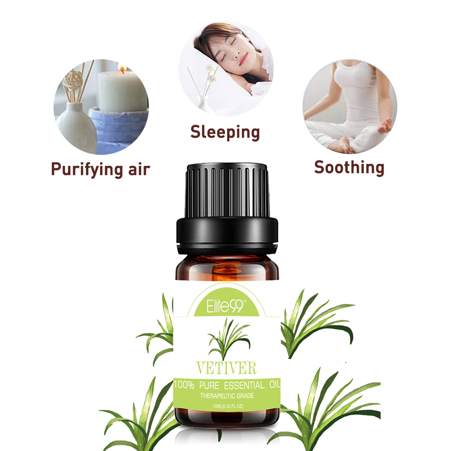 Elite99 10ml Vetiver Pure Essential Oil for Diffusers Aromatherapy Help Sleeping Body Relieve Skin Care Massage Essential Oils