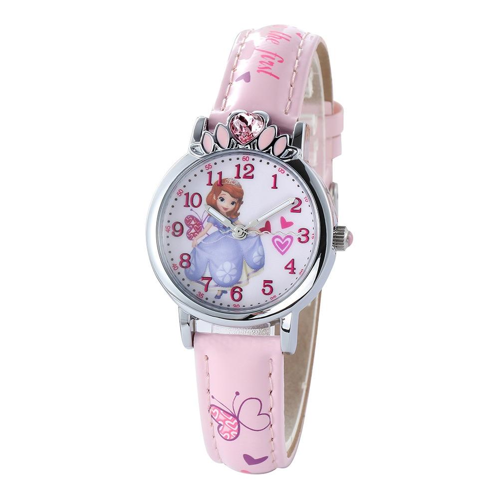 Оригинал Disney Princess Sophia Children% 27s Watch Women% 27s Watch Diamond Crown Princess Series Watch Girls Children% 27s Quartz Watch
