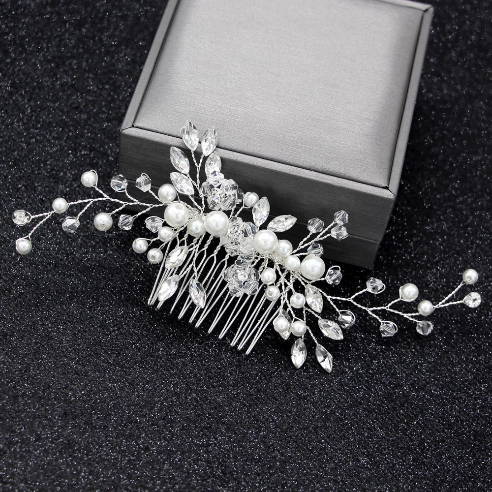 Elegant <font><b>Wedding</b></font> <font><b>Hair</b></font> Combs <font><b>for</b></font> Bride Crystal Rhinestones Pearls Women Hairpins Bridal <font><b>Headpiece</b></font> <font><b>Hair</b></font> <font><b>Accessories</b></font> image