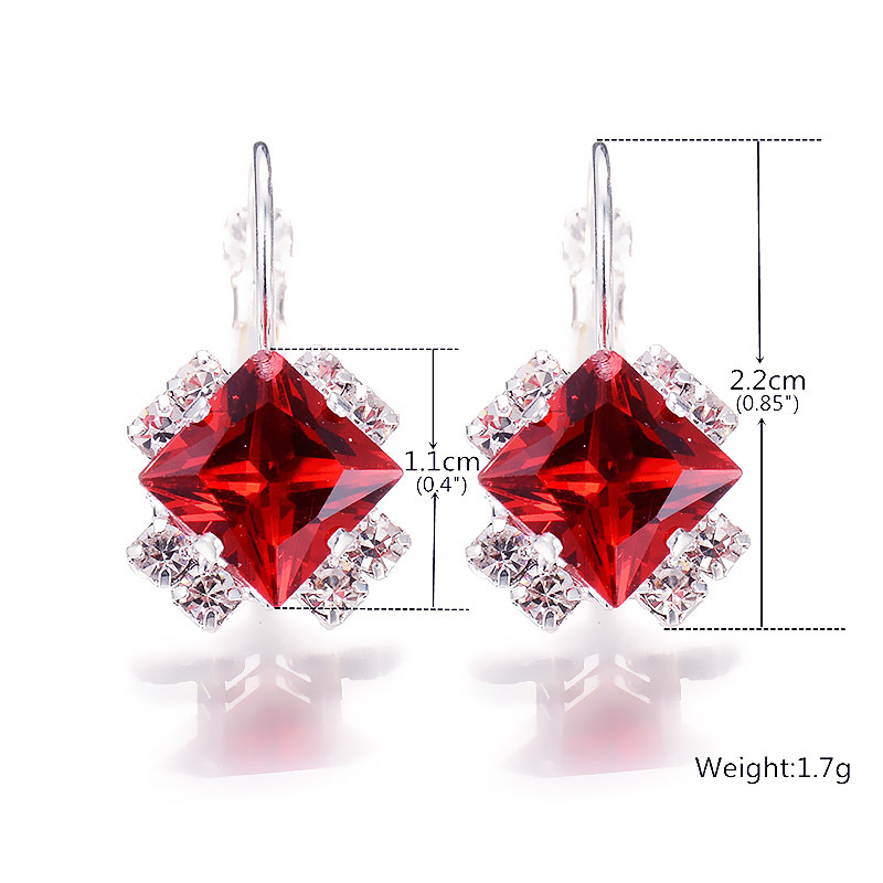 Kpop Crystal Square Stud Earrings for Women Trendy 2020 New Bridal Earrings  Accessories Fashion Christmas Jewelry Girl Gift