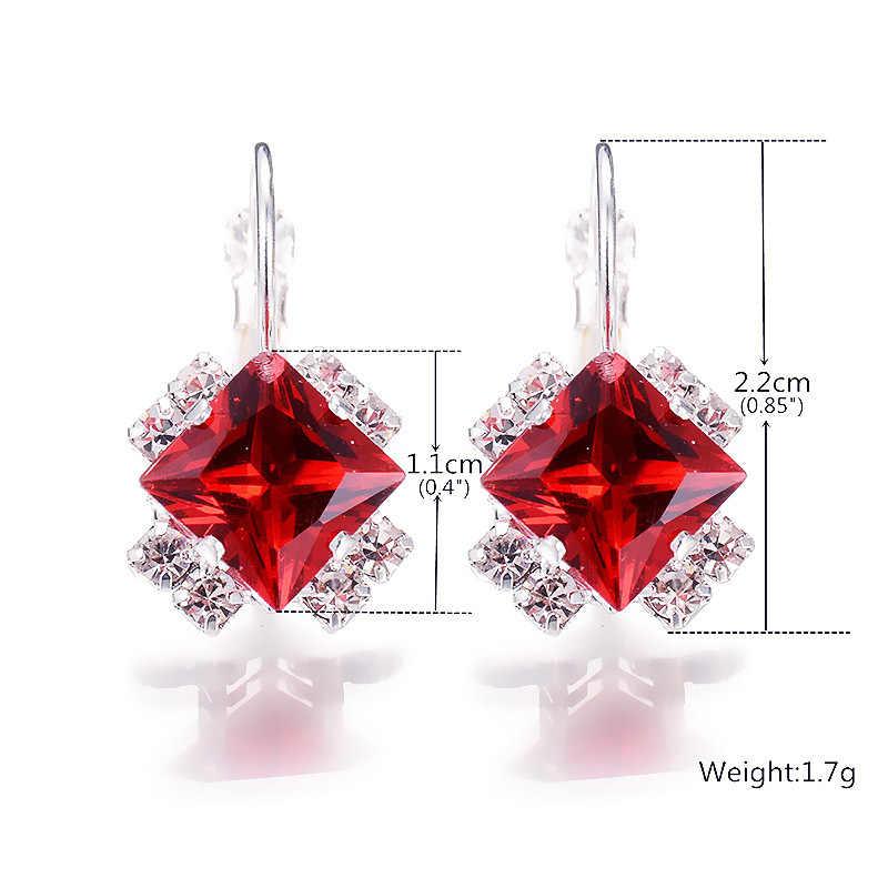 Pendientes cuadrados de cristal para mujeres rojo, azul, etc. 2020 nuevos accesorios de moda fiesta banquete regalo para niños, joyería