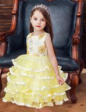 Summer Girls Beaded Flower Girl Dress Wedding Elegant Beauty Layered Ballet  Princess 3-10 Years Old