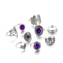 9PCS Vintage  Purple Crystals Ring Band Kit Midi Knuckle Finger Set Women Bohemia Fashion Jewelry