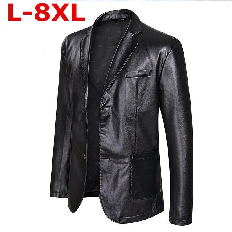 Plus Size 8XL 7XL   New High Quality Arrival Leather Jackets Men's Jacket Outwear Men's Coats Spring Autumn P U Jacket  Coat