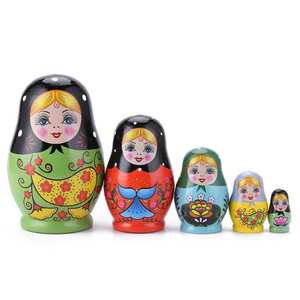 1 Set Nesting Dolls Color Painted Russian Matryoshka Doll Handmade Crafts