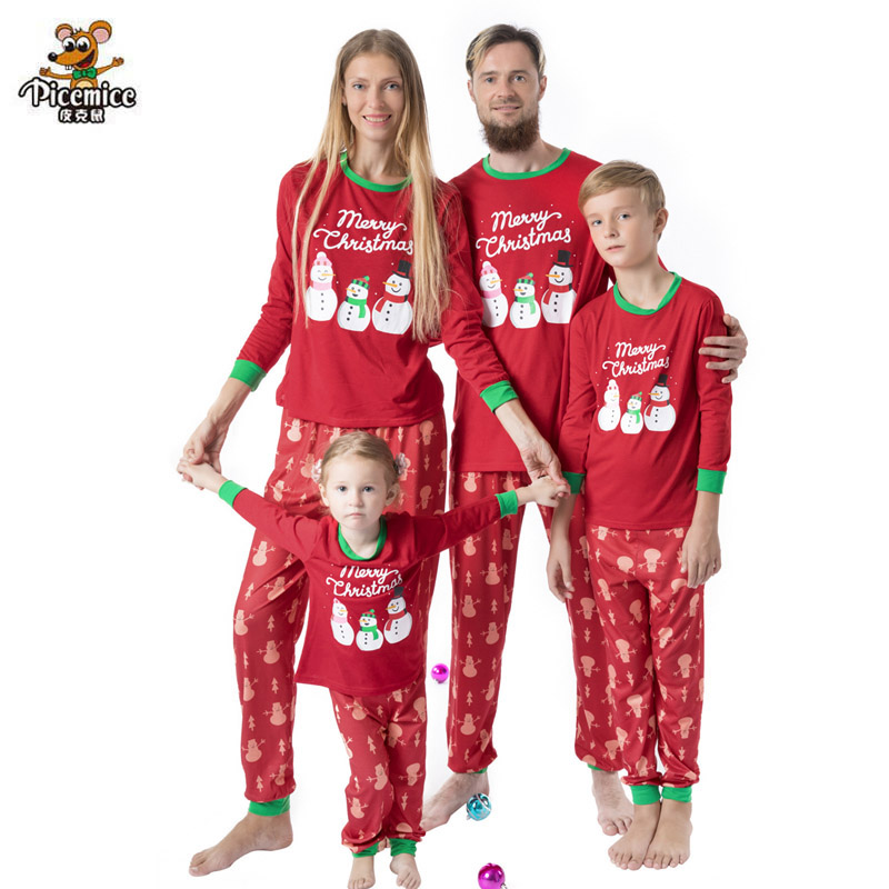 Family Matching Outfits Christmas Snowman Men Women Sleepwear Family Pajama Sets Mother Daughter Father Son Pyjamas Set Clothes