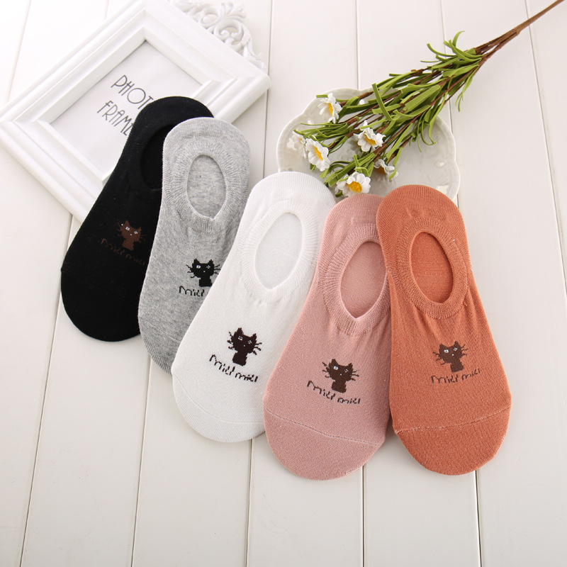 Cartoon Socks Women Cute Kawaii Streetwear Summer Spring Animal Print Sox Cat Low Ankle Invisible Slippers Girl 2020