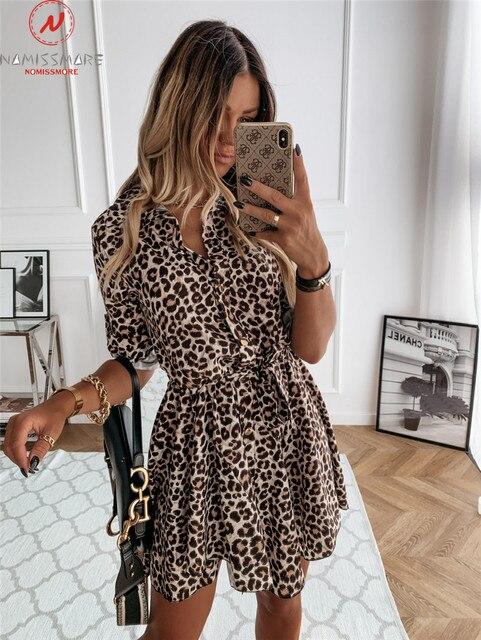 Fashion Women Spring Autumn Thin Dress Bandage Design Button Decor Turn-down Collar Long Sleeve Leopard Print Slim Mini Dress 4