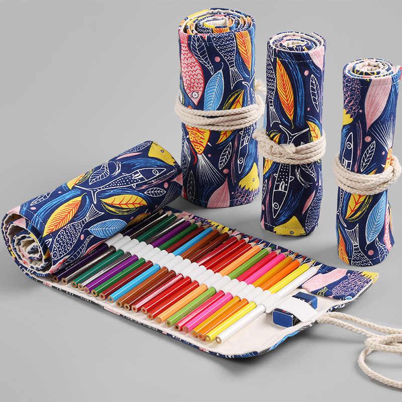 12/24/36/48/72 Holes Roll กระเป๋าใส่ดินสอ Kawaii ผ้าใบปากกากระเป๋าสำหรับหญิงน่ารักขนาดใหญ่ Pencilcase Penalties กล่องเครื่องเขียน