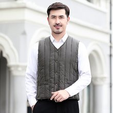 Autumn Winter Man Casual Puffer Vest Navy Blue Army Green Puff Waistcoat Men V-neck Single-breasted Quilted Herringbone Gilets