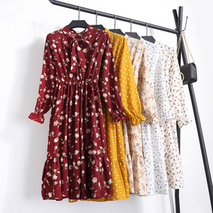 Image 2 - 여자 가을 꽃 인쇄 미디 롱 드레스 우아한 사무실 레이디 Chiffion 드레스 여성 드레스 Vestidos