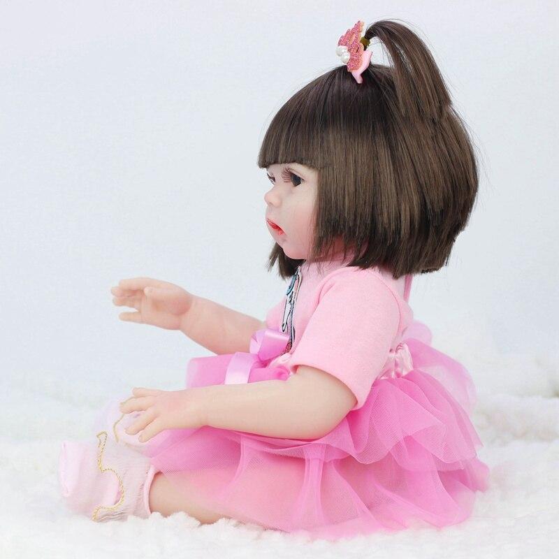 45CM Baby Silicone Reborn Realistic Drinking Water Pee Vinyl Body Doll Reborn Lifelike Baby Doll Newborn