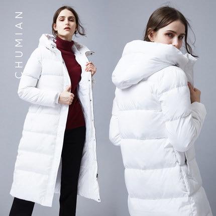 High Quality New Winter Women Duck Down Jacket Parka X-long Slim Hooded Coat Female Outwear Campera Pluma LX824