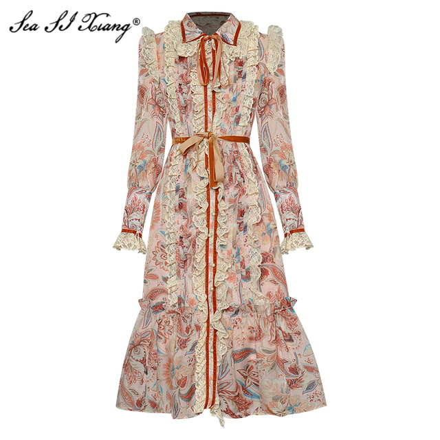 Seasixiang Fashion Designer Spring Dress Women's Lace-up Long Sleeve Lace Ruffles Vintage Floral-Print Dresses 1