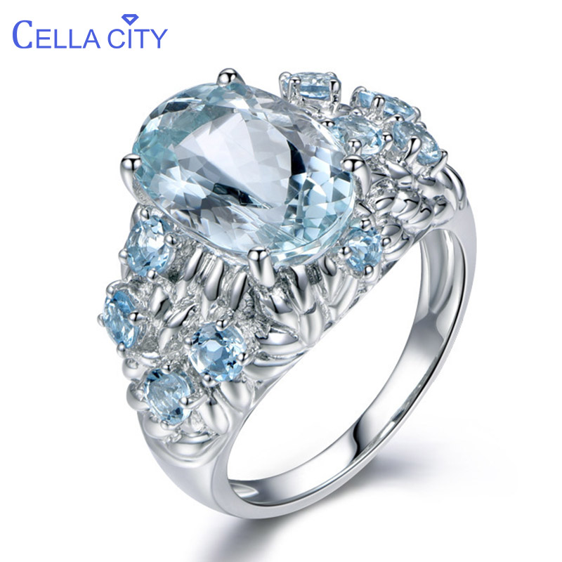 Cellacity Oval Aquamarine Rings For Women Silver 925 Jewelry 11*9mm Main Gemstones Female Engagement Ring Size6-10 Wholesale