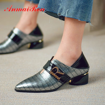 ANMAIRON 2019 Genuine Leather Ladies Shoes Party Pointed Toe  Basic Square Heel High Heel Shoes Metal Decoration Womens Shoes