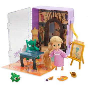Disney Tangled Doll Rapunzel Mini Cabin Girl Play House Toy Action Figure Collection Model Kids Gift Toy X4742