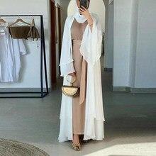Ramadan Eid Mubarak Abaya Dubai Turquía Kaftan musulmán Kimono de las mujeres chaqueta traje de mujer musulmana vestido ropa Islam Jalaba