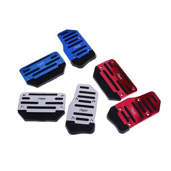 2pcs/set Aluminium Alloy Non-slip Car Automatic Accelerator Brake Foot Pedal Cover Treadle Random SHIDWJ image