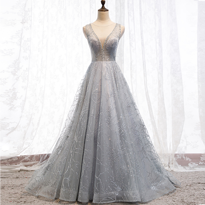2020Evening Dresses  Silver Formal Gown Long Evening Party Dress