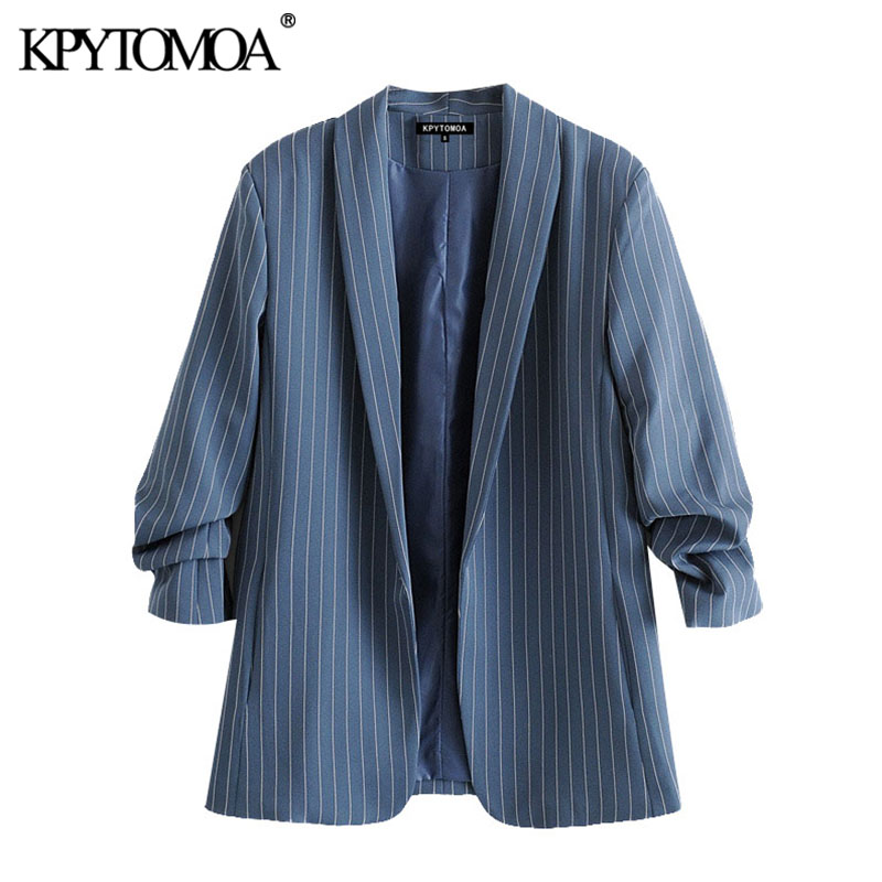 KPYTOMOA Women 2020 Fashion Office Wear Plaid Blazers Coat Vintage Pleated Sleeves Pockets Female Outerwear Chic Tops