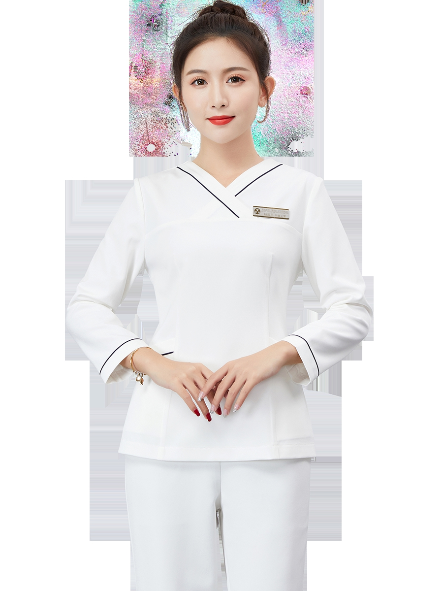 Cosmetologist's Work Clothes Women New Waiters In Autumn And Winter 2019 Foot Therapy Technician Health Center Long Sleeve Skin