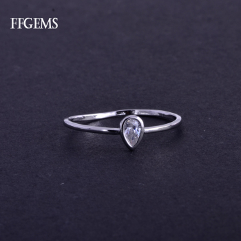 FFGems Real 10K White Gold Ring Sterling Moissanite Pear Cut 0.35ct Fine Jewelry For Women Lady Engagement Wedding Party Gift image